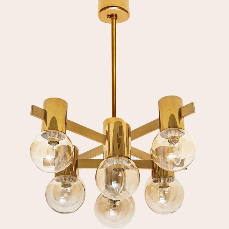 Pair of Brass and Glass Light Fixtures in the Style of Jakobsson, 1960s For Sale 5