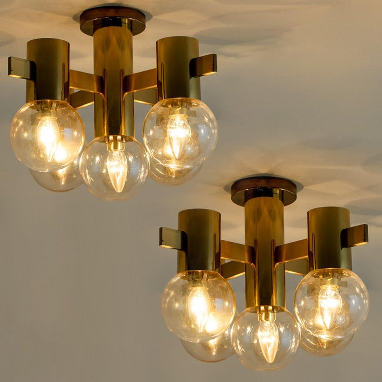 German Pair of Brass and Glass Light Fixtures in the Style of Jakobsson, 1960s For Sale