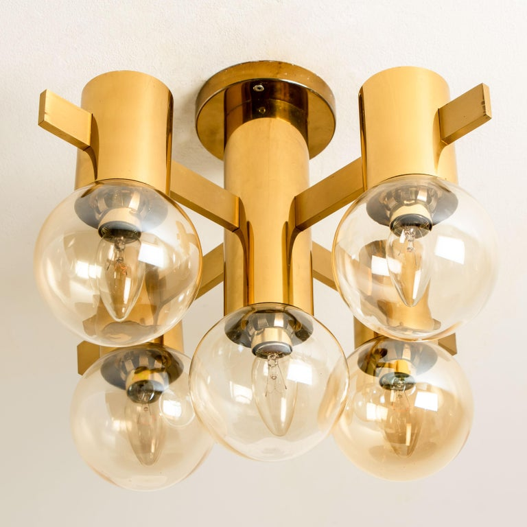 Mid-20th Century Pair of Brass and Glass Light Fixtures in the Style of Jakobsson, 1960s For Sale