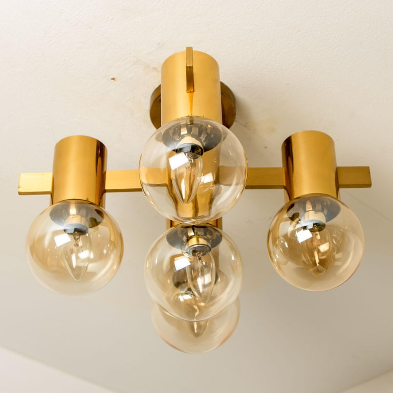 Metal Pair of Brass and Glass Light Fixtures in the Style of Jakobsson, 1960s For Sale
