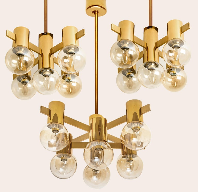 Pair of Brass and Glass Light Fixtures in the Style of Jakobsson, 1960s For Sale 1