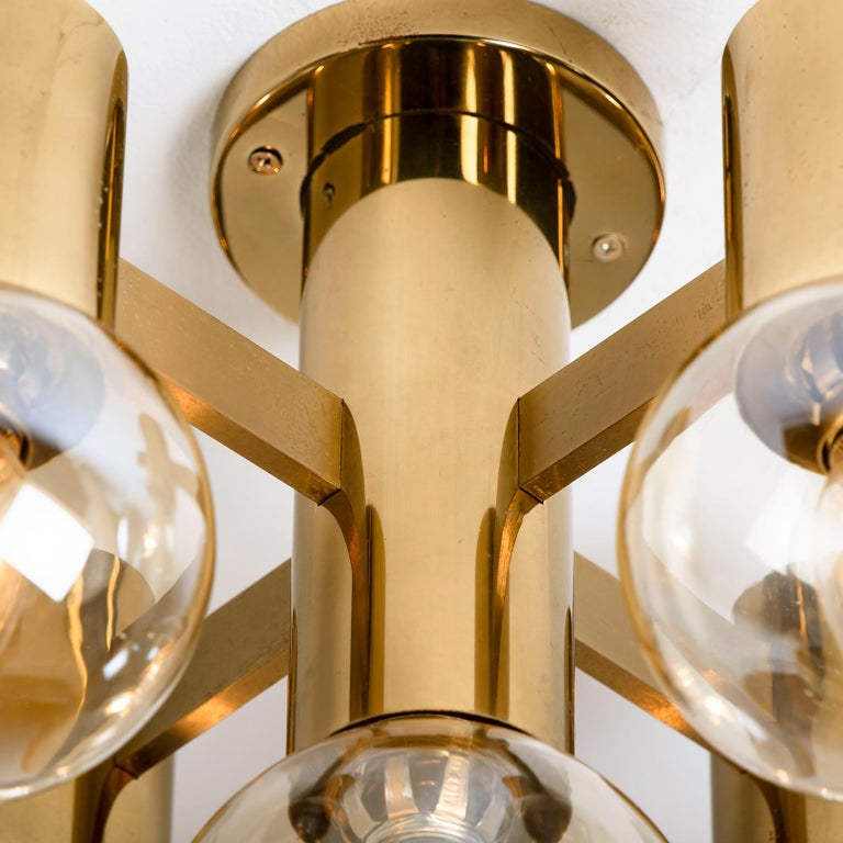 Pair of Brass and Glass Light Fixtures in the Style of Jakobsson, 1960s For Sale 2