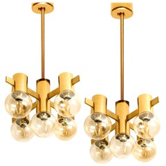 Pair of Brass and Glass Light Fixtures in the Style of Jakobsson, 1960s