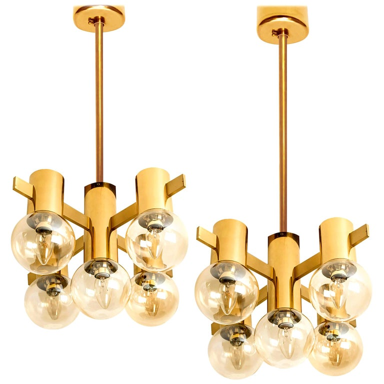 Pair of Brass and Glass Light Fixtures in the Style of Jakobsson, 1960s For Sale