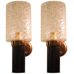 Pair of Brass and Glass Mid-Century Modern Sconces, Maison Arlus Style, France