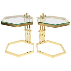 Pair of Brass and Glass Modernist Sculptural Octagon Side or Drink Tables