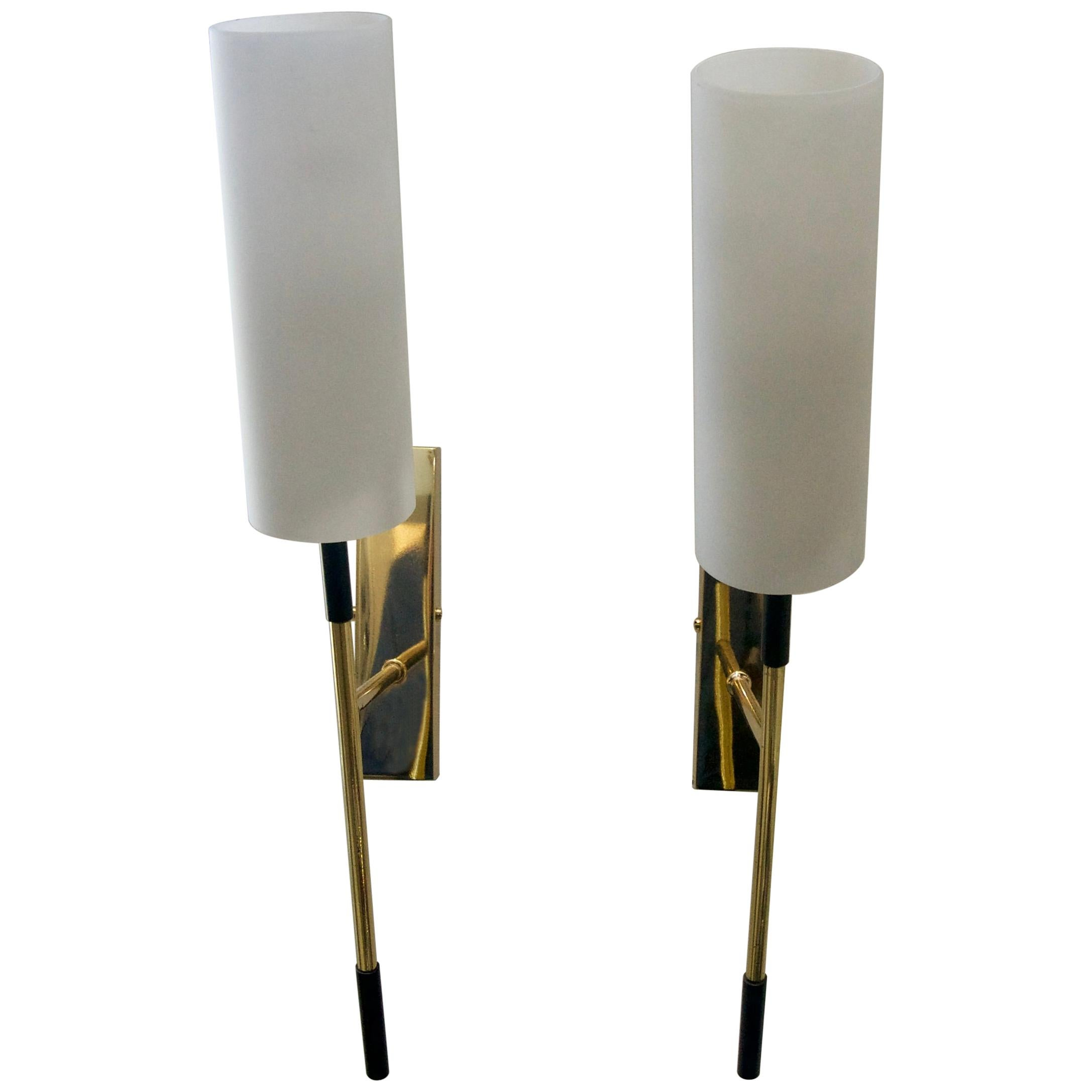 Pair of Brass and Glass Sconces attributed to Stilnovo, circa 1958