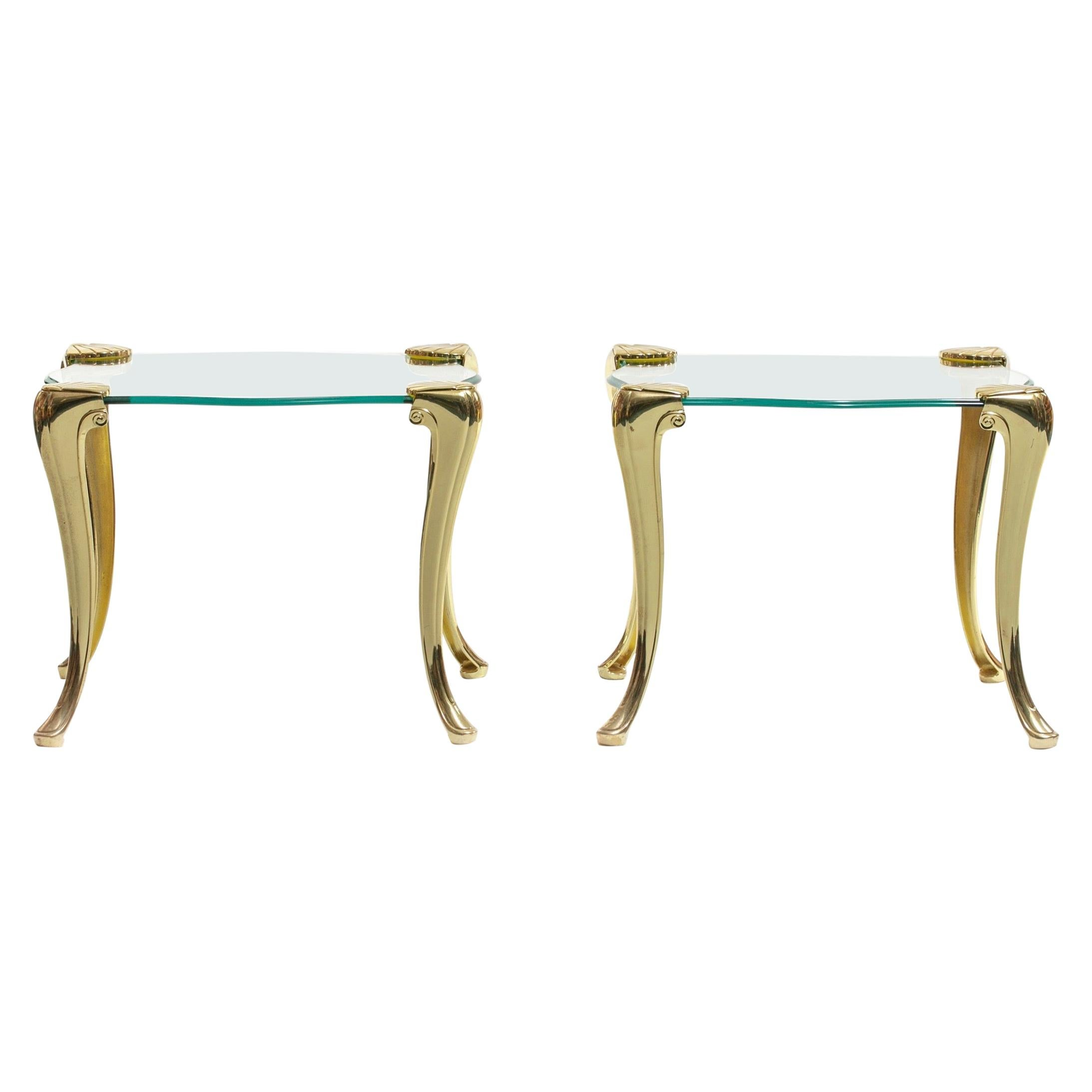 Pair of Brass and Glass Serpentine End Tables Attributed to Chapman