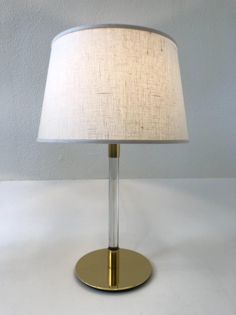 Pair of Brass and Glass Table Lamp by Hansen Lamps For Sale 4