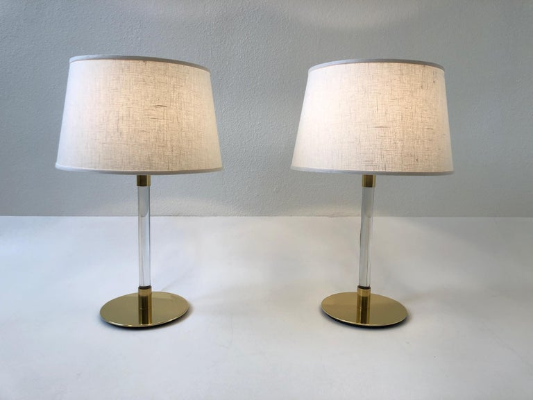 Pair of Brass and Glass Table Lamp by Hansen Lamps For Sale 6