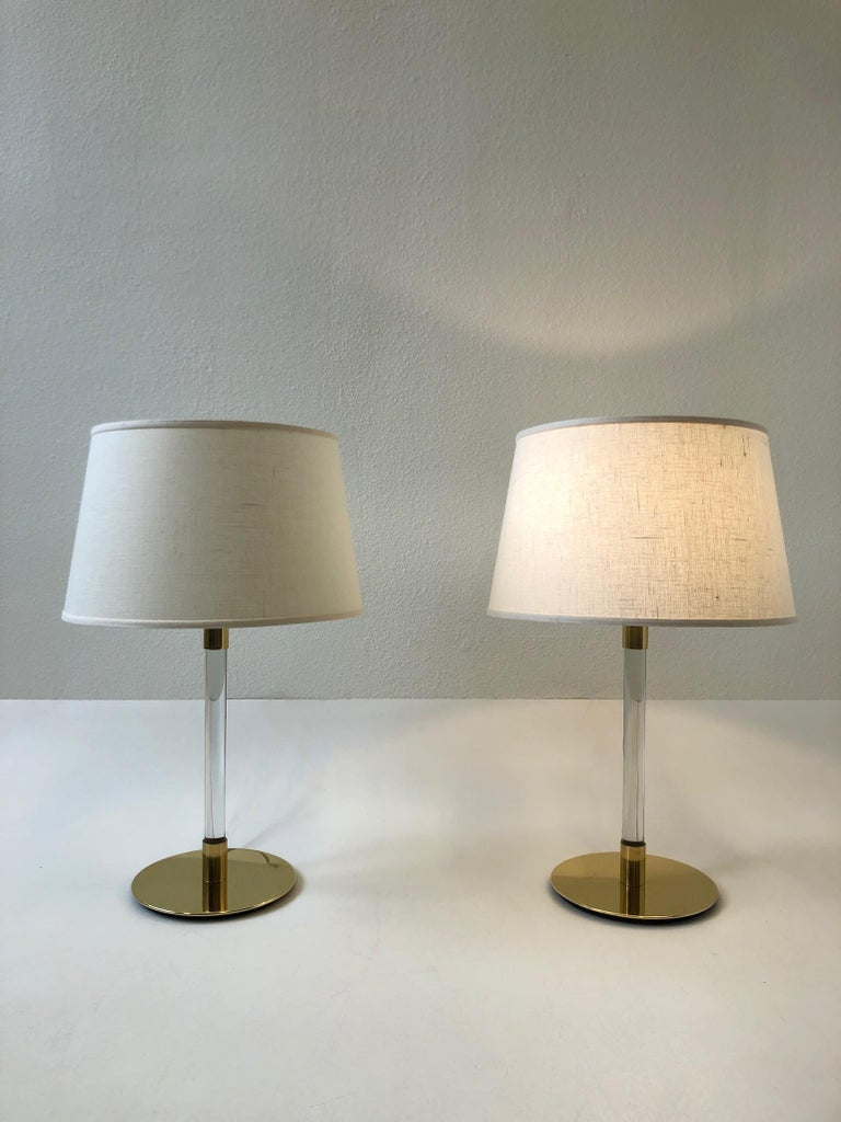Modern Pair of Brass and Glass Table Lamp by Hansen Lamps For Sale