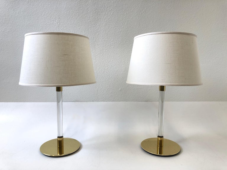 Spanish Pair of Brass and Glass Table Lamp by Hansen Lamps For Sale