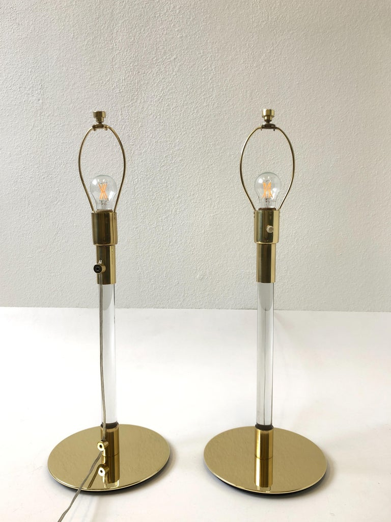 Pair of Brass and Glass Table Lamp by Hansen Lamps In Excellent Condition For Sale In Palm Springs, CA