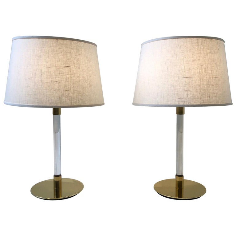 Pair of Brass and Glass Table Lamp by Hansen Lamps For Sale