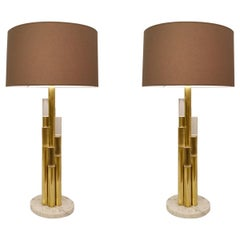 Pair of Brass and Glass Tubes Table Lamps, Italy