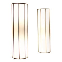 Pair of Brass and Glass Wall Lights, Small Cinema Lights, Germany 1950s