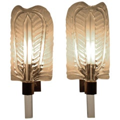 Pair of Brass and Glass Wall Sconces by Barovier Toso, 1950s