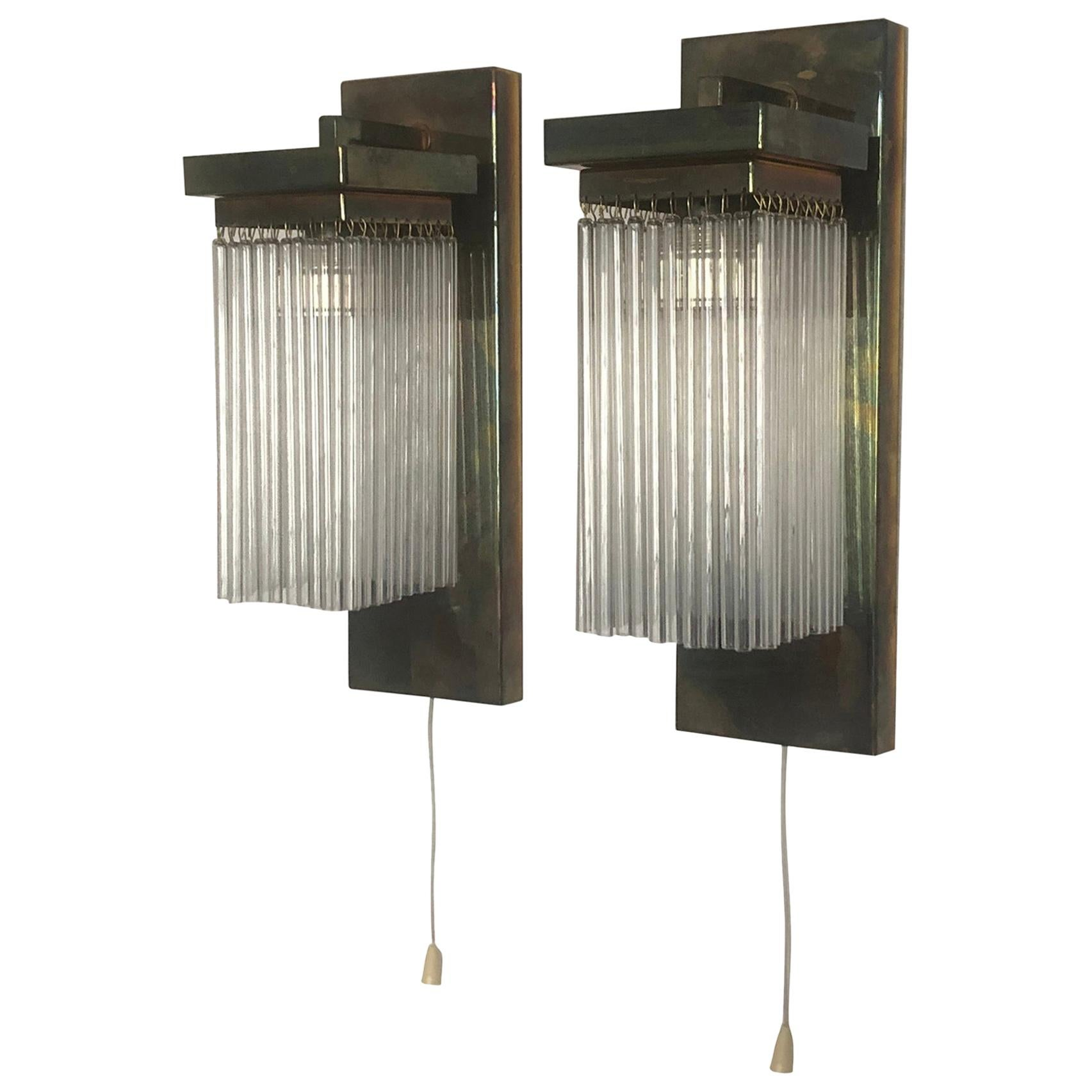 Pair of Brass and Glass Wall Sconces, Koloman Moser, Otto Wagner Style, Vienna
