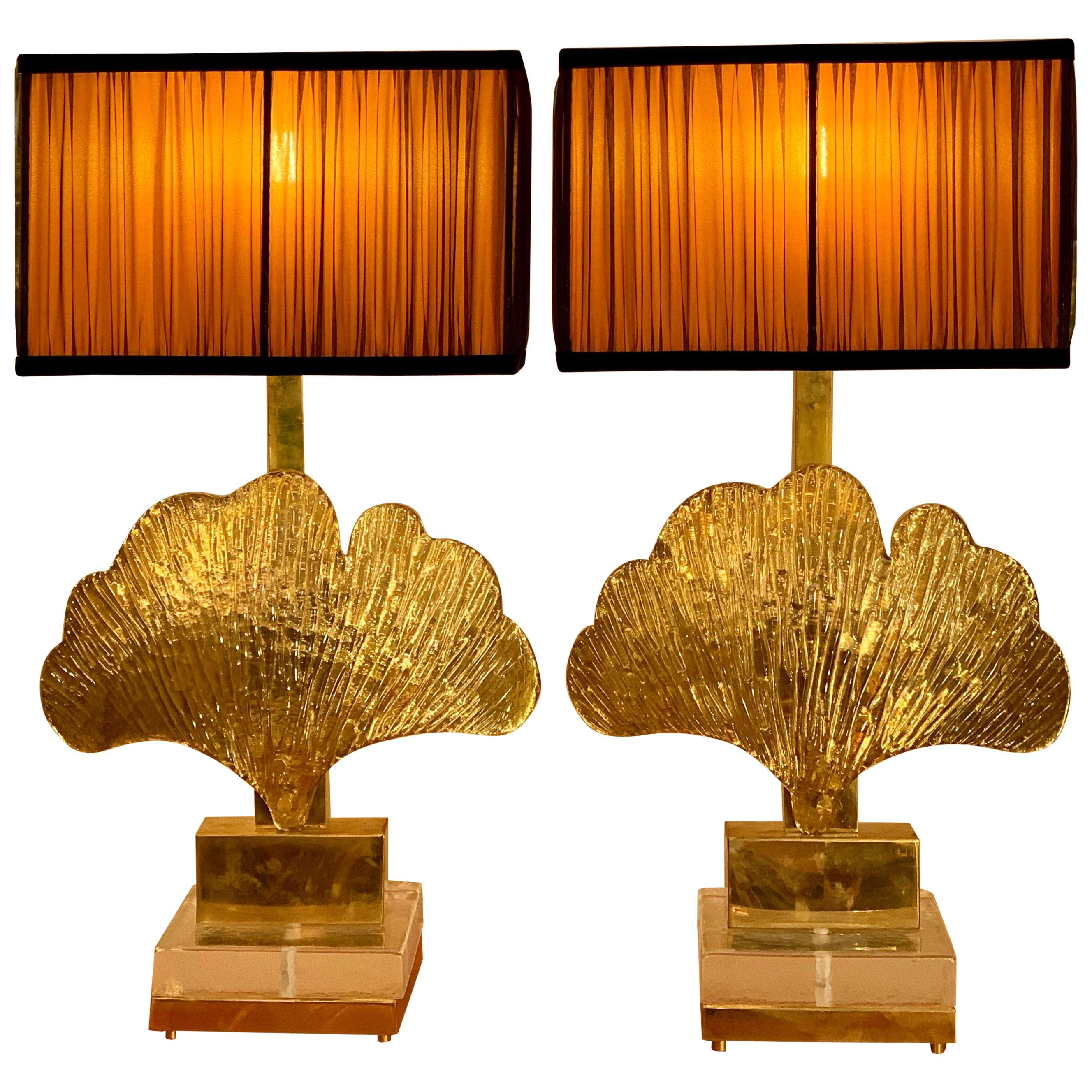 Brass and Gold Mirrored Murano Gingko Leaf Lamps with our Lampshades 1980, Pair