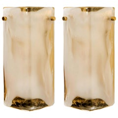 Pair of Brass and Hand Blown Murano Glass Wall Lights by J.T. Kalmar