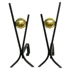 Pair of Brass and Iron Modernist Andirons by Donald Deskey
