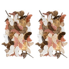 Pair of Brass and Ivory, Coral and Bronze Murano Glass Butterfly Sconces, Italy