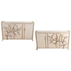 Pair of Brass and Ivory Hand Painted Murano Glass Floral Sideboards, Italy