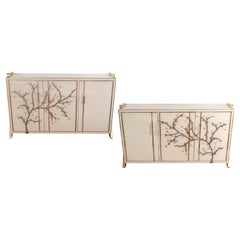 Pair of Brass and Ivory Hand Tinted Murano Glass Flower Sideboard, Italy, 2019