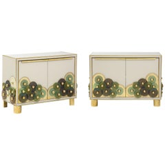 Pair of Brass and Ivory Murano Glass with Glass Discs Sideboards, Italy, 2021
