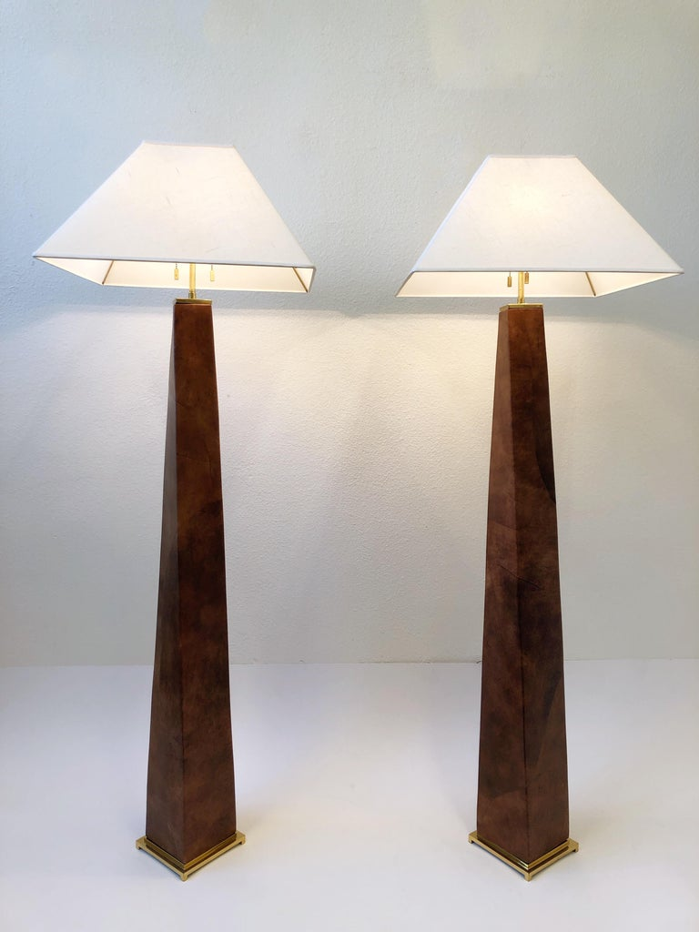 Modern Pair of Brass and Leather Floor Lamps by Karl Springer For Sale