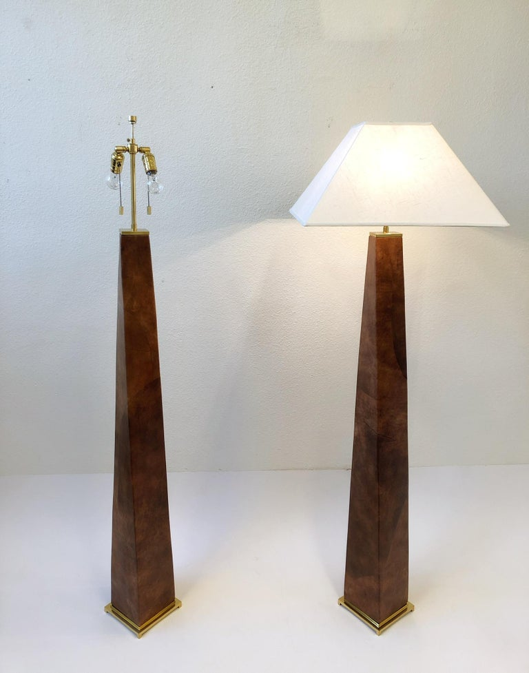 American Pair of Brass and Leather Floor Lamps by Karl Springer For Sale
