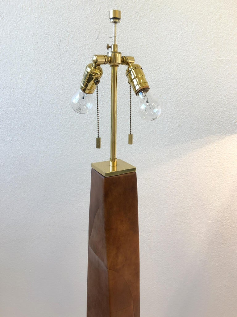 Late 20th Century Pair of Brass and Leather Floor Lamps by Karl Springer For Sale