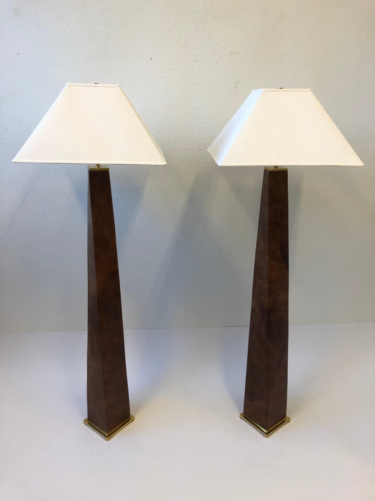 Pair of Brass and Leather Floor Lamps by Karl Springer For Sale 2