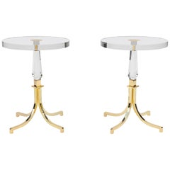 Pair of Brass and Lucite Charles Hollis Jones Side Tables