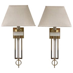 Pair of Brass and Lucite Wall Sconces