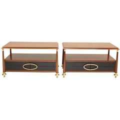 Pair of Brass and Mahogany Nightstands