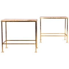 Pair of Brass and Marble Side Table