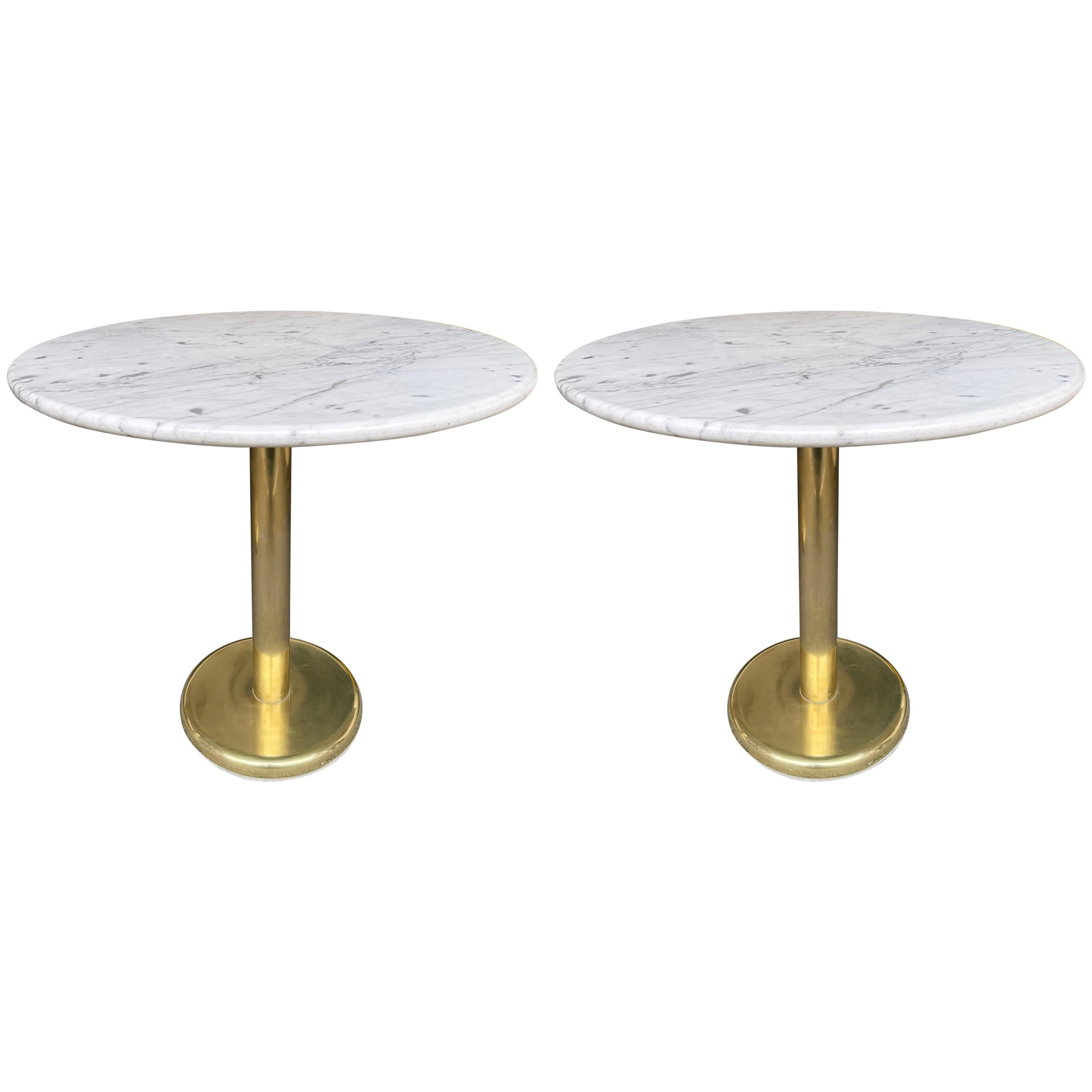 Pair of Brass and Marble Side Table, Italy, 1970s