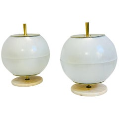 Pair of Brass and Marble Table Lamps from Galassia, 1964, Italy