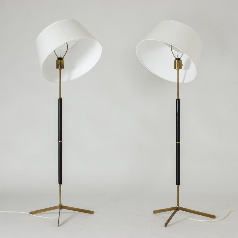 Scandinavian Modern Pair of Brass and Metal Floor Lamps from Bergboms For Sale