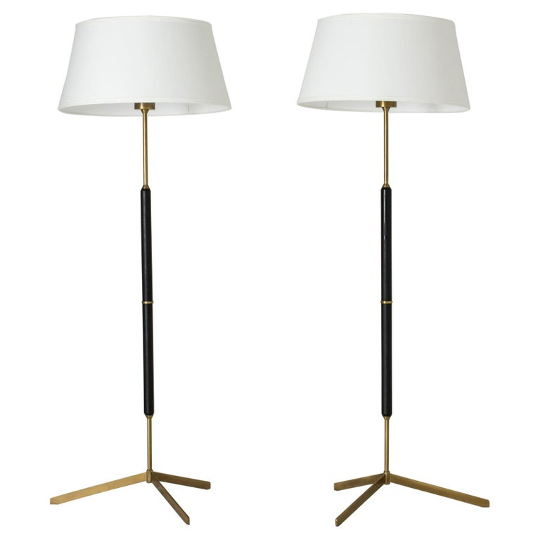 Pair of Brass and Metal Floor Lamps from Bergboms For Sale