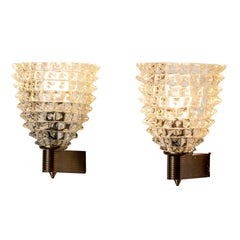 Pair of Brass and Murano Glass Barovier e Toso Sconces, c. 1950