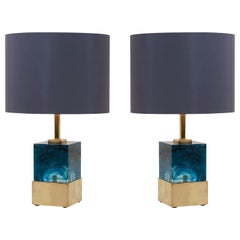 Pair of Brass and Murano Glass Cube Table Lamps