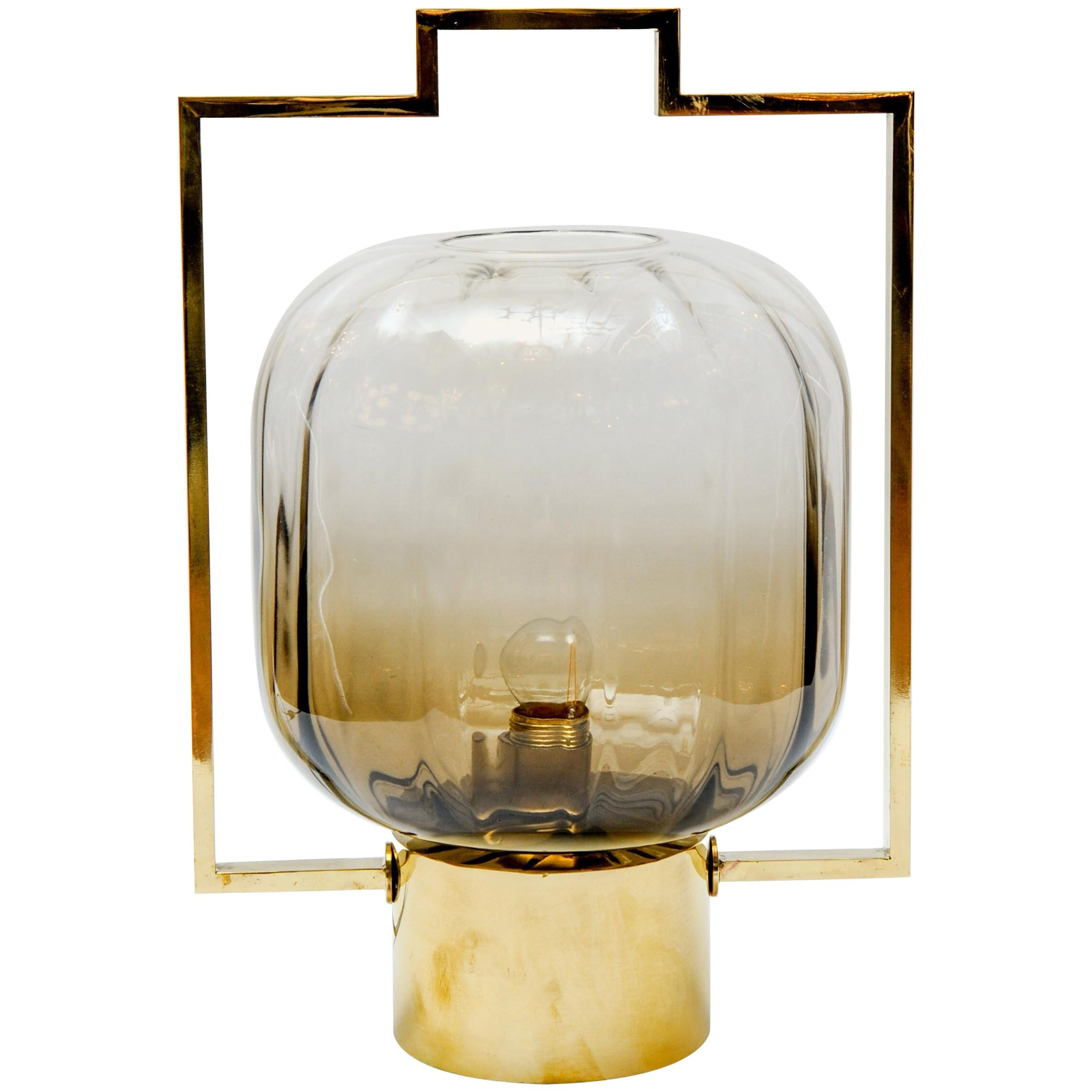 Pair of Brass and Murano Glass Lantern Table Lamps