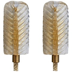 Pair of Brass and Murano Glass Leaves Wall Sconces