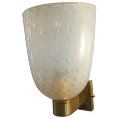 Pair of Brass and Murano Glass Sconces
