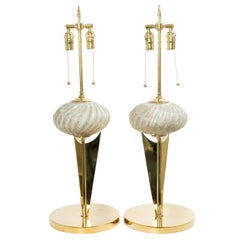 """Pair of Brass and Murano Glass """"Trophy"""" Table Lamps"""
