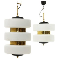 Pair of Brass and Opaline Glass Chandeliers, 1950s