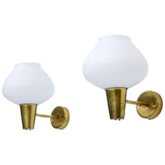 Pair of Brass and Opaline Glass Wall Lamps by ASEA, Sweden