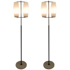 Pair of Brass and Opaline Midcentury Floor Lamps by Stilnovo, Italy, circa 1950